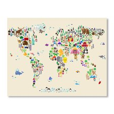 Animal Map Wall Mural