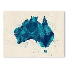 Australia Paint Splashes Map Wall Mural