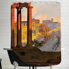 Vintage Rome Travel Poster Shower Curtain