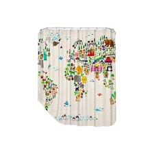 World Animal Map Shower Curtain