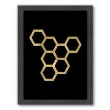 Honeycomb Modern Gold on Black Framed Graphic Art