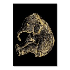 Elephant Baby Gold on Black Poster Gallery by Amy Brinkman Graphic Art