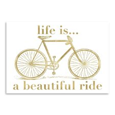 Bicycle Life is Beautiful Ride Gold on White Poster Gallery by Amy Brinkman Graphic Art