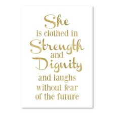 She is Clothed Strength Gold on White Poster Gallery by Amy Brinkman Textual Art