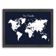 'Our Travels' by Samantha Ranlet Framed Graphic Art in Midnight Blue