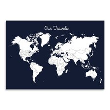 'Our Travels' by Samantha Ranlet Graphic Art in Midnight Blue