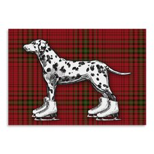 'Dog on Ice Skates with Red Plaid Background' by Kristin Van Handel Graphic Art
