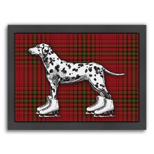 'Dog on Ice Skates with Red Plaid Background' by Kristin Van Handel Framed Graphic Art