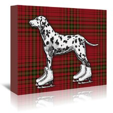 'Dog on Ice Skates with Red Plaid Background' by Kristin Van Handel Graphic Art on Wrapped Canvas