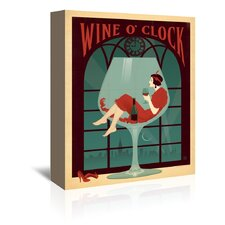 Wine Wine O' Clock Vintage Advertisement on Wrapped Canvas