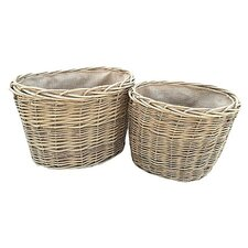 2 Piece Oval Log Basket Set