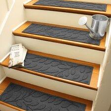 Aqua Shield Charcoal Brittany Leaf Stair Tread (Set of 4)