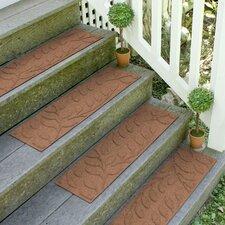 Aqua Shield Dark Brown Brittany Leaf Stair Tread (Set of 4)