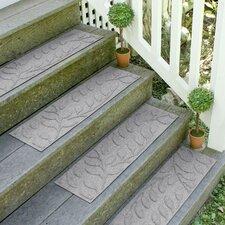 Aqua Shield Medium Gray Brittany Leaf Stair Tread (Set of 4)