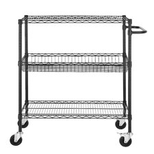 "Heavy Duty Commercial Grade Wire 45"" H Three Shelf Shelving Cart"