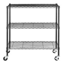 "Multi Purpose Wire 36"" H Three Shelf Shelving Cart"