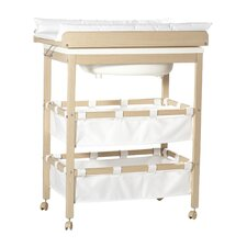 Bath-changing table combo with swivel changing table top