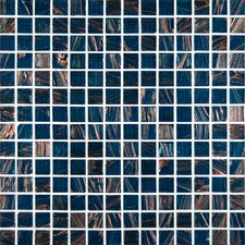 0.75'' x 0.75'' Glass Mosaic Tile in Blue Iridescent