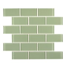 Crystallized 2'' x 4'' Glass Mosaic Tile in Mint Green