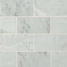 "3"" x 6"" Polished Marble Tile in Carrara White"