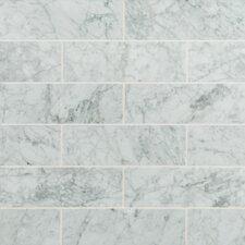 "4"" x 12"" Honed Marble Tile in Arabescato Carrara"