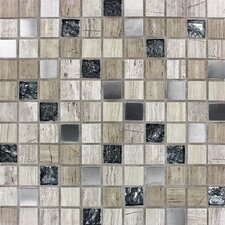 "Castle Rock 1"" x 1"" Glass/Natural Stone Mosaic Tile in Multi"