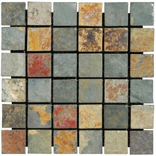 "California 2"" x 2"" Slate Mosaic Tile in Multi"