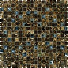Crystallized 0.625'' x 0.625 Glass Mosaic Tile in Emperador Dark Blend