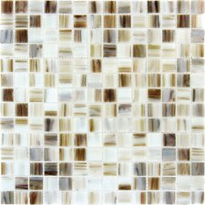 0.75'' x 0.75'' Glass Mosaic Tile in White Iridescent