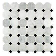 "Arabescato Carrara 2"" x 2"" Octagon & Dot Marble Mosaic Tile"