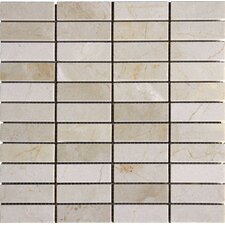 "1"" x 3'' Marble Mosaic Tile in Crema Marfil"