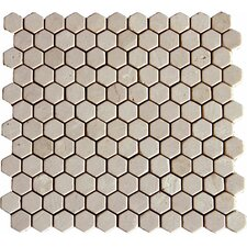 "1"" x 1"" Marble Mosaic Tile in Crema Marfil"