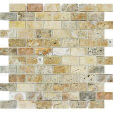 "Tuscany Scabas 1"" x 2"" Travertine Mosaic Tile in Beige"