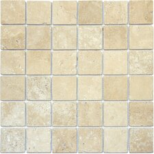 "Tuscany Classic 2"" x 2"" Travertine Mosaic Tile in Beige"