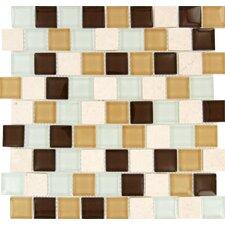 "Desert Mirage Mounted 1.25"" x 1.25"" Glass Stone Mosaic Tile in Multi"