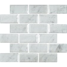 "Arabescato Carrara Greecian Mounted 2"" x 4"" Marble Mosaic Tile in White"
