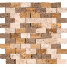 "Mixed Mounted 1"" x 2"" Travertine Splitface Tile in Multi"