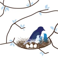 Imaginations Bird Nest Stretched Canvas Art
