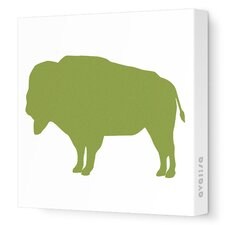 Silhouettes Buffalo Stretched Canvas Art