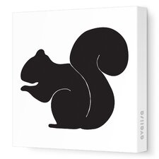 Silhouettes Squirrel Stretched Canvas Art