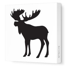 Silhouettes Moose Stretched Canvas Art