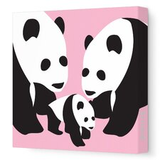 Animals Three Pandas Stretched Canvas Art