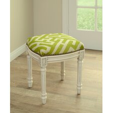 Graphic Lattice Linen Upholstered Vanity Stool