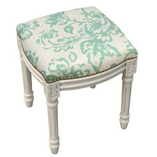 Toile Linen Upholstered Vanity Stool with Nailhead