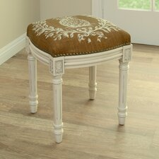 Pineapple Linen Upholstered Vanity Stool with Nailhead