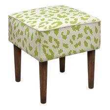 Cheetah Linen Upholstered Vanity Stool