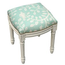 Birds and Vines Linen Upholstered Vanity Stool