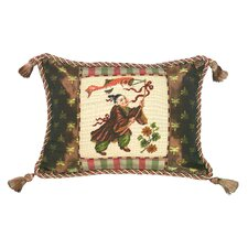 Chinoiserie Chinese Boy with Kite Petit Point Wool Throw Pillow