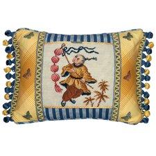 Chinoiserie Boy with Lantern Petit Point Wool Lumbar Pillow