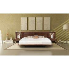 Moduluxe Platform Customizable Bedroom Set with Low Upholstered Microsuede Headboard